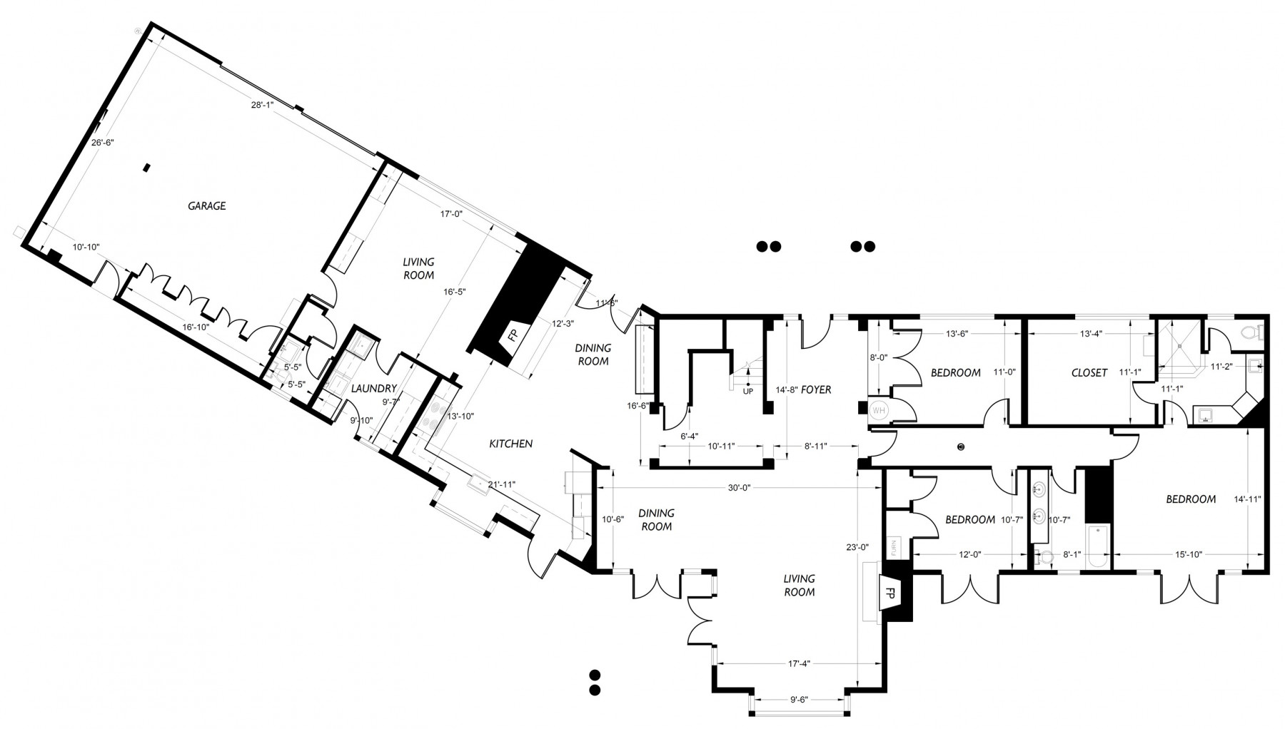 The floor plan for the main level of this Mercer Island residence.