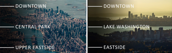 Pictured Above: Jones pointed out similarities between the development of Manhattan Island in New York City and growth in the Seattle/Bellevue metro area. Both markets feature a high-density area of approximately 10 miles by 2 miles.