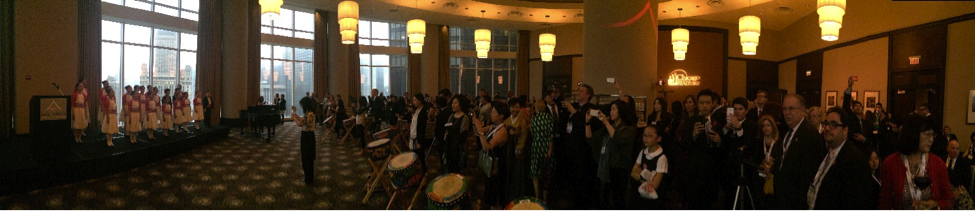 Pictured Above and Below: The Grand Ballroom at the Trump Hotel was standing room only for the Sotheby's International Realty Opening Reception, which featured dynamic song and dance numbers.