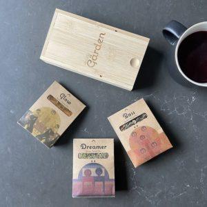 Assortment of three teas and bamboo storage box